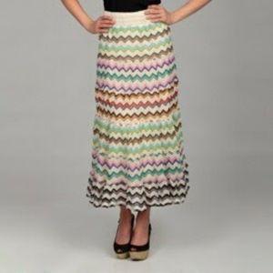 Lapis chevron crochet boho maxi skirt medium